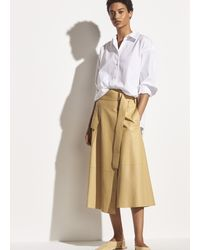 Vince Belted Leather Wrap Skirt - Natural
