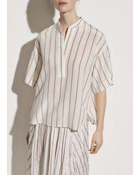 Vince Silky Stripe Popover - White