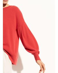 Vince | Pleated Sleeve Cashmere Crew | Lyst