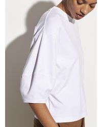 Vince Puff Sleeve Pima Cotton Crew - White