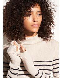 Vince - Striped Roll Edge Cashmere Mock Neck - Lyst