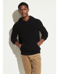 Vince Boiled Cashmere Pullover Hoodie - Black