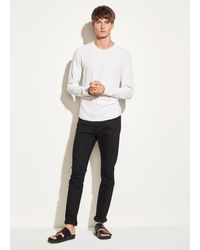 Vince Double Knit Long Sleeve Crew - White