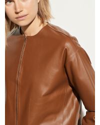 Vince Cropped Leather Jacket - Brown