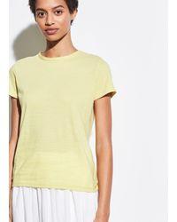 Vince Skinny Stripe Short Sleeve Crew - Yellow