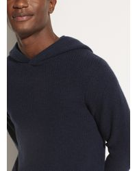 Vince Marled Cashmere Pullover Hoodie - Blue