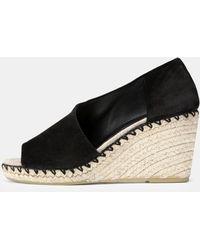 Vince Sonora Asymmetric Suede Sandals - Black