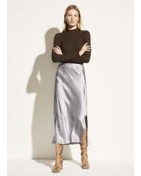 Vince Satin Side Slit Slip Skirt - Multicolour