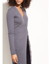 Vince | Mix Ribbed Cashmere Long Button Cardigan | Lyst