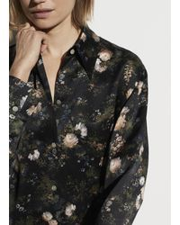 Vince Rose Field Silk Shaped Collar Blouse - Black