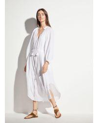Vince Long Sleeve Poet Dress - White