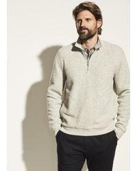 Vince Boucle Quarter Zip Pullover - Grey