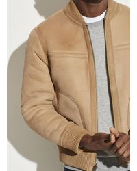 Vince Reversible Shearling Bomber Jacket - Natural