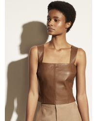 Vince Leather Cropped Tank - Brown