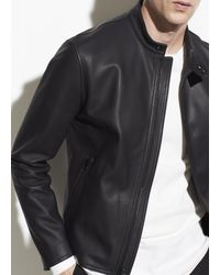 Vince Leather Café Racer Jacket - Black