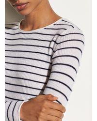 Vince - Stripe Ribbed Cashmere Crew - Lyst
