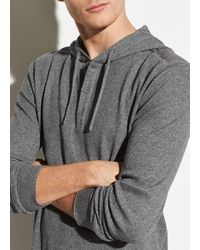 Vince Waffle Hooded Henley Pullover - Gray
