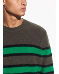 Vince Regular Fit Stripe Cashmere Jumper - Green