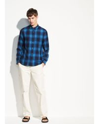 Vince Double Face Plaid Long Sleeve - Blue