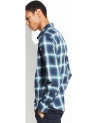 Vince Ombre Shadow Plaid Long Sleeve - Blue
