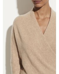 Vince Boiled Cashmere Wrap Front Pullover - Natural