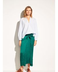 Vince | Pleated Tie Front Skirt | Lyst