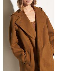 Vince Hooded Wool Coat - Brown
