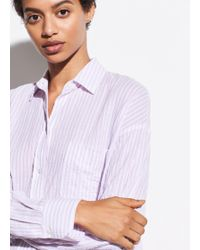 Vince Striped Boxy Long Sleeve Shirt - Multicolour