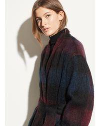 Vince Brushed Plaid Long Coat - Blue