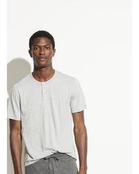 Vince Striped Short Sleeve Henley - Grey