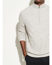 Vince Merino Cashmere Thermal Quarter Zip - Gray