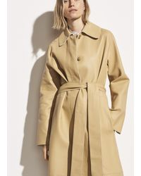 Vince Double Face Leather Trench - Natural