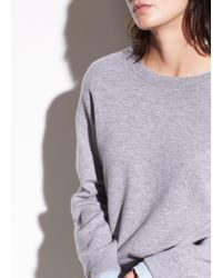 Vince - Double Layer Cashmere And Cotton Crew - Lyst