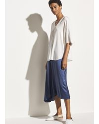 Vince Short Sleeve V-neck Popover - White