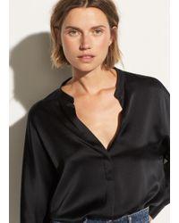 Vince Band Collar Silk Blouse - Black