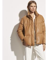 Vince Leather Puffer Jacket - Natural