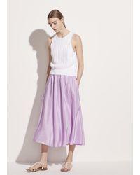 Vince Gathered Silk Habotai Pull On Skirt - Purple