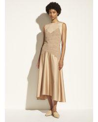 Vince Lace Applique Satin Skirt - Natural