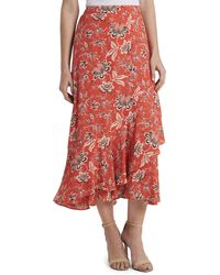 Vince Camuto Floral-print Ruffled Skirt - Pink
