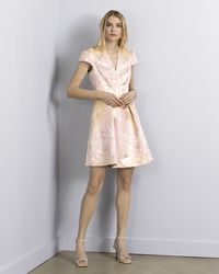 Vince Camuto Jacquard Fit-and-flare Dress - Pink