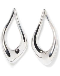 Vince Camuto - Silvertone Abstract Teardrop Hoop Earrings - Lyst