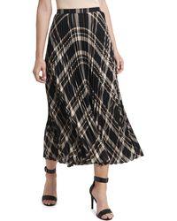 Vince Camuto Plaid Pleated Midi Skirt - Black