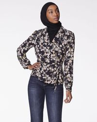 Vince Camuto Floral-print Collared Wrap Blouse - Gray