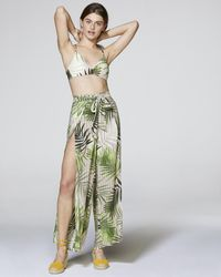 Vince Camuto Palm-print Cover-up Pants - Green