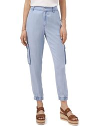 Vince Camuto Chambray Elastic-cuff Cargo Pants - Purple