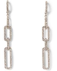 Vince Camuto - Silvertone Jeweled Link Drop Earrings - Lyst