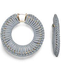 Vince Camuto Leather Macrame Hoop Earrings - Metallic