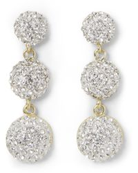 Vince Camuto Jeweled Triple-drop Earrings - Metallic