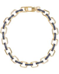 Vince Camuto - Blue Leather-inlay Chain Link Necklace - Lyst