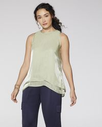 Vince Camuto Satin Tiered Top - Green